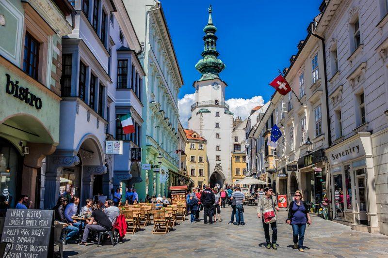 Bratislava from Vienna with coffe & cake, local bratislava guide, St. Michael`s Gate