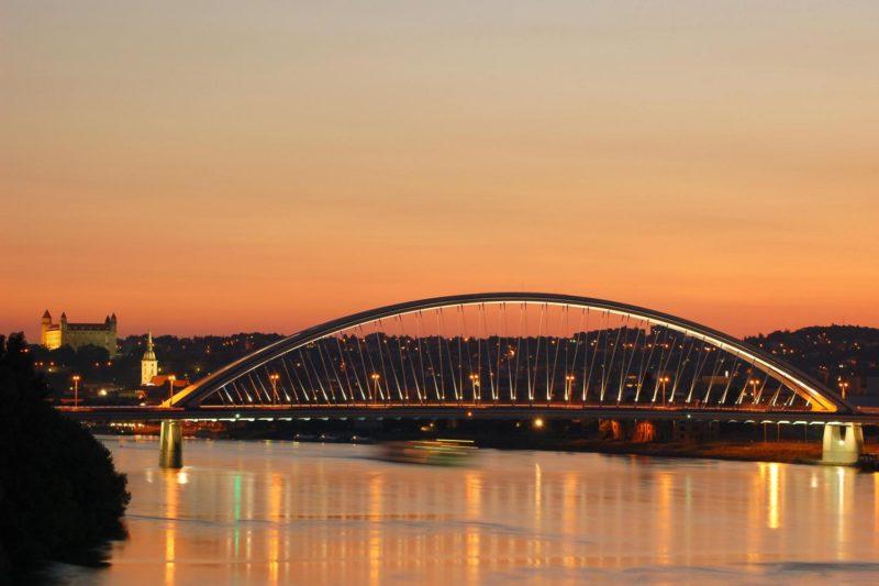 Bratislava by Night, night Bratislava Apollo Bridge