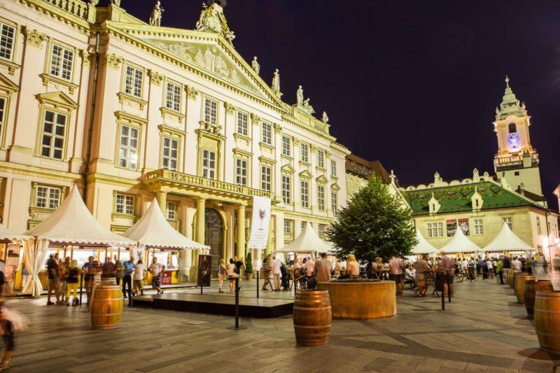 Bratislava by Night, night Bratislava Primate`s Palace