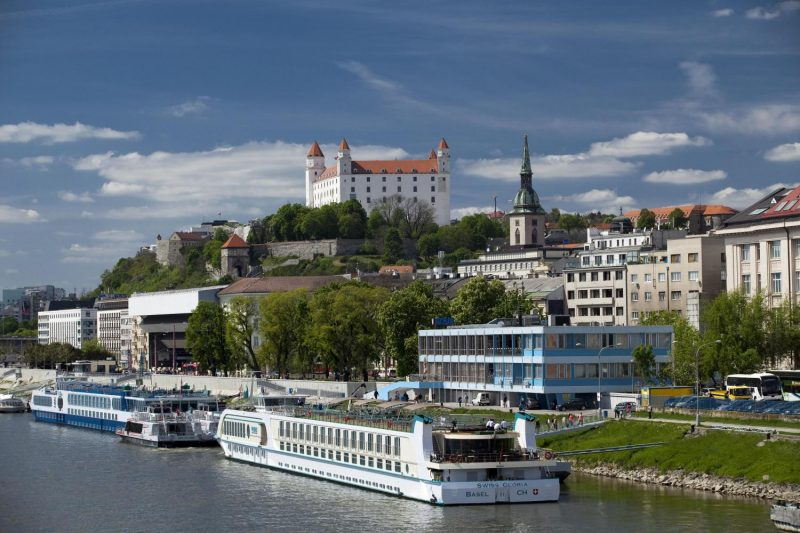 Bratislava from Vienna with coffe & cake local bratislava guide panorama with Danube river
